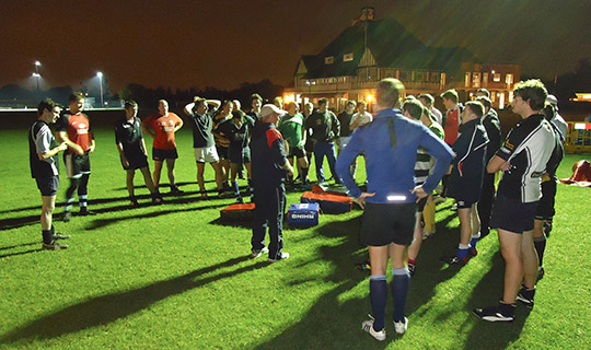 A photo of an Evening coaching session with HSBC Bank Rugby Club